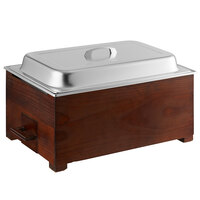 Choice 8.3 Qt. Full Size Wood Chafer with Mahogany Wood Stand and Stainless Steel Cover - 22 inch x 14 1/4 inch x 12 1/4 inch