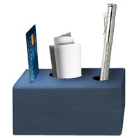 Menu Solutions WDBLOCK-CHECK 3 1/2 inch x 3 1/2 inch x 2 1/2 inch Denim Wood Block Check Presenter