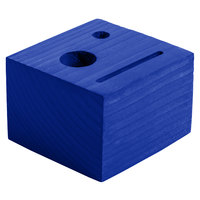 Menu Solutions WDBLOCK-CHECK 3 1/2 inch x 3 1/2 inch x 2 1/2 inch Customizable True Blue Wood Block Check Presenter