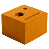 Menu Solutions WDBLOCK-CHECK 3 1/2 inch x 3 1/2 inch x 2 1/2 inch Customizable Country Oak Wood Block Check Presenter