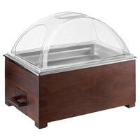 Choice 8.3 Qt. Full Size Wood Chafer with Mahogany Wood Stand and Dome Cover - 22 inch x 14 1/4 inch x 19 3/4 inch
