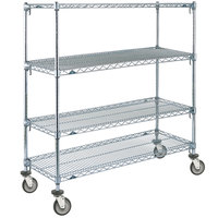 Metro A466EC Super Adjustable Chrome 4 Tier Mobile Shelving Unit with Polyurethane Casters - 21 inch x 60 inch x 69 inch
