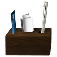 Menu Solutions WDBLOCK-CHECK 3 1/2 inch x 3 1/2 inch x 2 1/2 inch Walnut Wood Block Check Presenter
