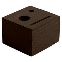 Menu Solutions WDBLOCK-CHECK 3 1/2 inch x 3 1/2 inch x 2 1/2 inch Customizable Walnut Wood Block Check Presenter