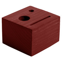 Menu Solutions WDBLOCK-CHECK 3 1/2 inch x 3 1/2 inch x 2 1/2 inch Customizable Mahogany Wood Block Check Presenter