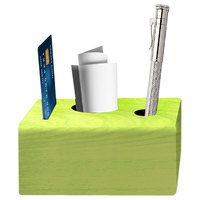 Menu Solutions WDBLOCK-CHECK 3 1/2 inch x 3 1/2 inch x 2 1/2 inch Customizable Lime Wood Block Check Presenter