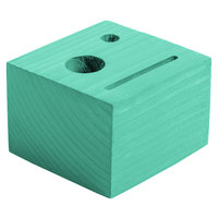 Menu Solutions WDBLOCK-CHECK 3 1/2 inch x 3 1/2 inch x 2 1/2 inch Customizable Teal Wood Block Check Presenter
