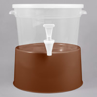 Choice Round 3 Gallon Translucent Beverage Dispenser with Brown Base