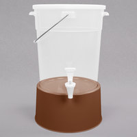 Choice Round 6 Gallon Translucent Beverage Dispenser with Brown Base