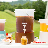 Choice Round 6 Gallon Translucent Beverage Dispenser with Brown Base