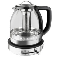 KitchenAid KEK1322SS 1.5 Liter Glass Electric Tea Kettle with Stainless Steel Base and Tea Steeper - 120V, 1500W