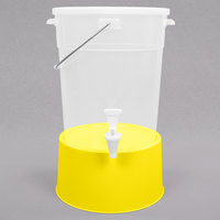 Choice Round 6 Gallon Translucent Beverage Dispenser with Yellow Base