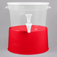 Choice Round 3 Gallon Translucent Beverage Dispenser with Red Base