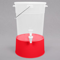 Choice Round 6 Gallon Translucent Beverage Dispenser with Red Base