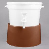Choice Round 3 Gallon White Beverage Dispenser with Brown Base