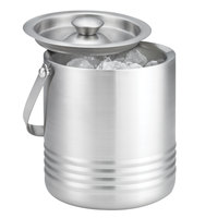 Tablecraft RIB76 1.8 Qt. Double Walled Stainless Steel Ice Bucket