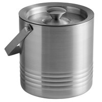 Tablecraft RIB76 Double Wall Stainless Steel 1.8 Qt. Ice Bucket with Lid