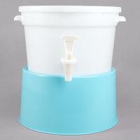 Choice Round 3 Gallon White Beverage Dispenser with Blue Base