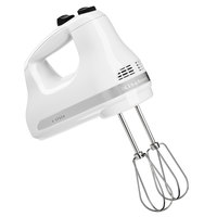 KitchenAid KHM512WH Ultra Power White 5 Speed Hand Mixer with Stainless Steel Turbo Beaters - 120V