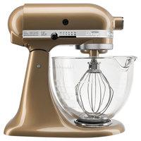 KitchenAid KSM155GBCZ Artisan Design Series Champagne 5 Qt. Tilt Head Countertop Mixer - 120V