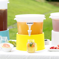 Choice Round 3 Gallon Translucent Beverage Dispenser with Yellow Base