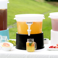 Choice Round 3 Gallon Translucent Beverage Dispenser with Black Base