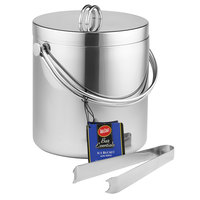 Tablecraft H303 3.75 Qt. Double Walled Stainless Steel Ice Bucket with Tongs