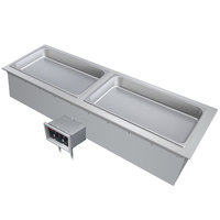 Hatco DHWBI-S2 Insulated Two Compartment Modular / Ganged Slim Drop In Hot Food Well with Drain - 120V