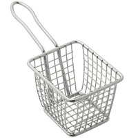 American Metalcraft FRYS443 4 inch x 4 inch x 3 inch Mini Square Stainless Steel Fry Basket Server