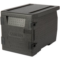 Cambro EPP300110 Cam GoBox® Black Full Size Front Loader Insulated Food Pan Carrier - 25 3/16 inch x 17 1/4 inch x 18 11/16 inch