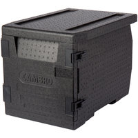 Cambro EPP300110 Cam GoBox&#174&#x3b; Black Full Size Front Loader Insulated Food Pan Carrier - 25 3/16 inch x 17 1/4 inch x 18 11/16 inch