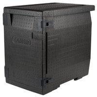 Cambro EPP400110 Cam GoBox&#174&#x3b; Black Full Size Front Loader Insulated Food Pan Carrier - 25 3/16 inch x 17 1/4 inch x 24 9/16 inch