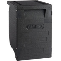 Cambro EPP400110 Cam GoBox® Black Full Size Front Loader Insulated Food Pan Carrier - 25 3/16 inch x 17 1/4 inch x 24 9/16 inch