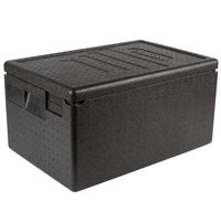 Cambro EPP180SW110 Cam GoBox&#174&#x3b; Black Full Size Top Loader Insulated Food Pan Carrier - 23 9/16 inch x 15 11/16 inch x 12 3/8 inch