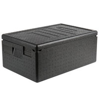 Cambro EPP160SW110 Cam GoBox&#174&#x3b; Black Full Size Top Loader Insulated Food Pan Carrier - 23 9/16 inch x 15 11/16 inch x 10 inch