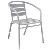 BFM Seating MS0021SG Capri Soft Gray Aluminum Outdoor / Indoor Arm Chair