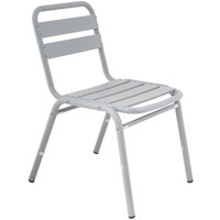 BFM Seating MS0025SG Capri Soft Gray Aluminum Outdoor / Indoor Side Chair