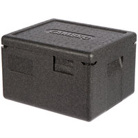 Cambro EPP260SW110 Cam GoBox&#174&#x3b; Black Half Size Top Loader Insulated Food Pan Carrier - 15 3/8 inch x 13 inch x 10 inch