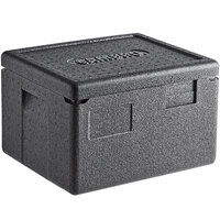 Cambro EPP260SW110 Cam GoBox® Black Half Size Top Loader Insulated Food Pan Carrier - 15 3/8 inch x 13 inch x 10 inch