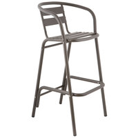 BFM Seating MS0063BZ Capri Bronze Aluminum Outdoor / Indoor Bar Height Arm Chair