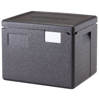Cambro EPP280SW110 Cam GoBox® Black Half Size Top Loader Insulated Food Pan Carrier - 15 3/8 inch x 13 inch x 12 3/8 inch