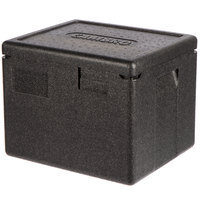 Cambro EPP280SW110 Cam GoBox&#174&#x3b; Black Half Size Top Loader Insulated Food Pan Carrier - 15 3/8 inch x 13 inch x 12 3/8 inch