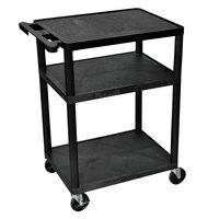 Luxor LP34-B 3 Shelf A/V Cart - 24 inch x 18 inch x 35 1/4 inch