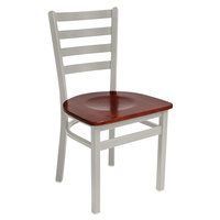 BFM Seating 2160CMHW-SM Lima Silver Mist Steel Side Chair with Mahogany Wooden Seat