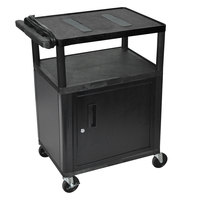 Luxor LE34C-B Black 2 Shelf A/V Cart with Electrical Assembly and Locking Cabinet - 24 inch x 18 inch x 35 1/4 inch