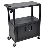 Luxor EA42CE-B 3 Shelf Black 35 1/4 inch x 18 inch x 42 1/2 inch Presentation Cart with Electrical Assembly and Locking Cabinet