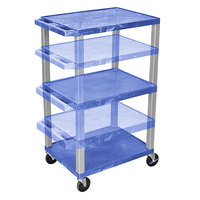 Luxor WT1642BUE-N Blue Tuffy 3 Shelf Adjustable Height A/V Cart with Nickel Legs - 18 inch x 24 inch