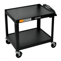 Luxor W26E Black 2 Shelf A/V Cart - 24 inch x 20 inch x 26 inch