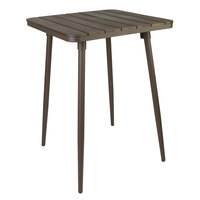 BFM Seating PH4L3636BR-BZT Bayview 36 inch Square Bar Height Table with Bronze Powder Coat Aluminum Frame and Brown Synthetic Teak Top