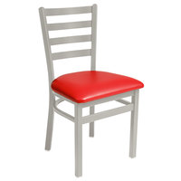 BFM Seating 2160CRDV-SM Lima Silver Mist Steel Side Chair with 2 inch Red Vinyl Seat